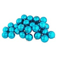 "32ct Shiny Turquoise Blue Shatterproof Christmas Ball Ornaments 3.25"" (80mm)"