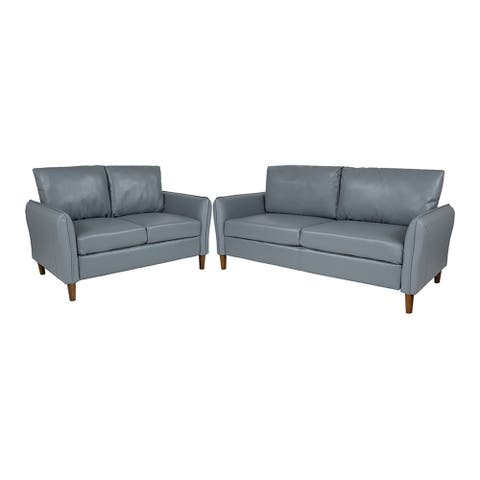 Offex Milton Park Upholstered Plush Pillow Back Loveseat and Sofa Set in LeatherSoft - Gray