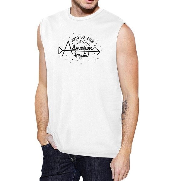 Adventure Begins Tank Top Mens White Graduation Muscle Top For Him