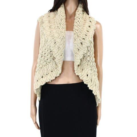 Chaudry Womens Sweater Natural Beige Size Large L Crochet Cocoon Vest