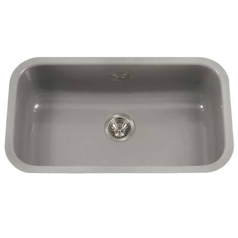 """Houzer PCG-3600 Porcela 30-9/10"""" Single Basin Undermount Porcelain"""
