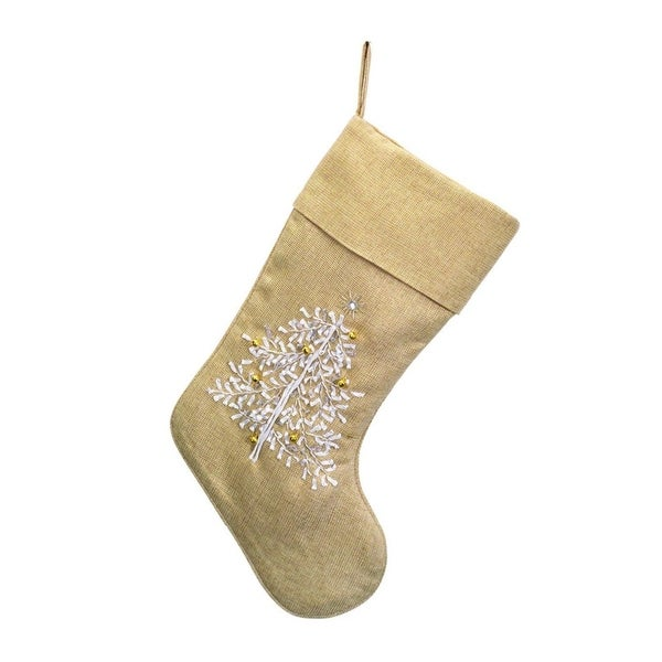 "17"" Glamour Time Elegant Beige and Metallic Gold Decorative Embroidered Christmas Stocking"