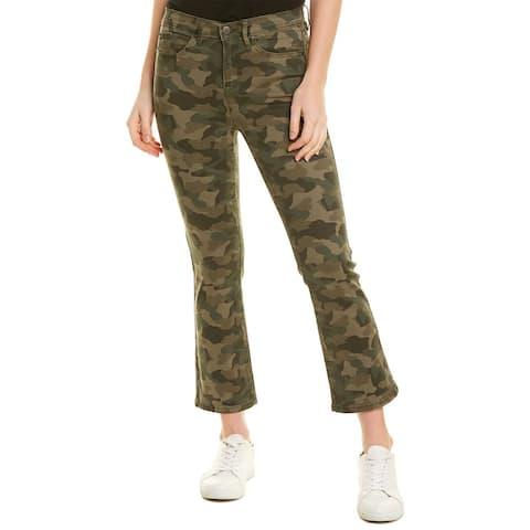 Nicole Miller Camo Green Cropped Flare Jean