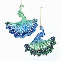 Club Pack of 24 Blue and Green Peacock Christmas Hanging Ornaments 6""