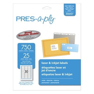 PRES-a-ply Permanent-Adhesive Address Labels For Laser and Inkjet Printers, 1 x 2-5/8 in, White, Pack of 750