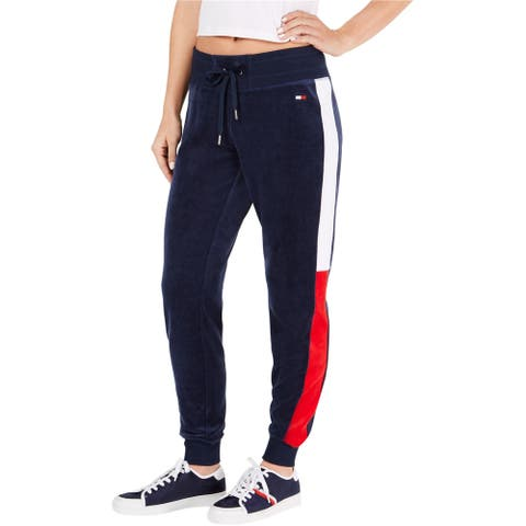 Tommy Hilfiger Womens Logo Athletic Jogger Pants, blue, X-Large