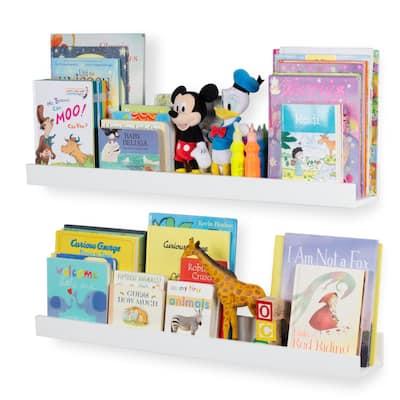 Wallniture Utah Wood Bookshelf Kids Room Decor Toy Storage Shelves White (Set of 2)