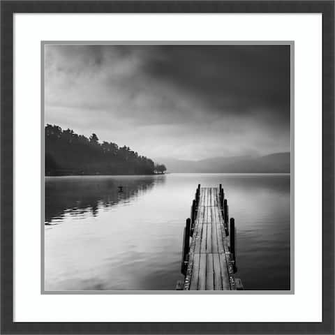 Framed Wall Art Print Lake view with Pier II by George Digalakis 25.50 x 25.50-inch