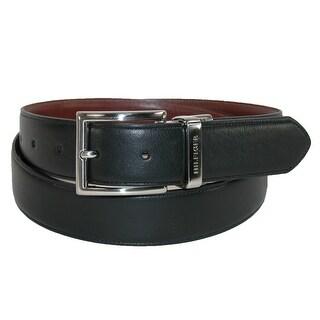 Tommy Hilfiger Men's Feather Edge Reversible 32mm Belt - black to tan