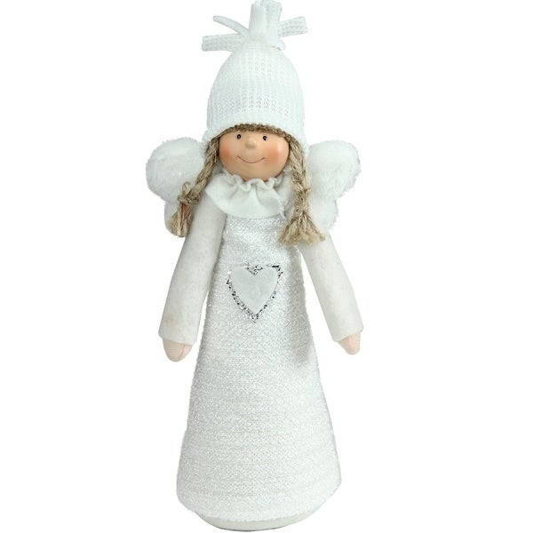 "12"" White Snowy Woodlands Girl Angel Christmas Tabletop Figure"