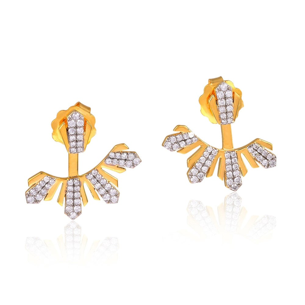 18kt Solid Yellow Gold Pave Diamond Ear Jacket Jewelry Gift For Girls (Yellow)
