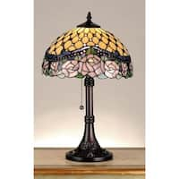 Meyda Tiffany 82304 Stained Glass / Tiffany Accent Table Lamp from the Jeweled Rose Collection - Mahogany Bronze - n/a