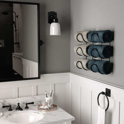 Wallniture Moduwine Wall Mount Towel Rack for Bathroom Wall Decor, Round Shape, 3 Sectional (Set of 2)