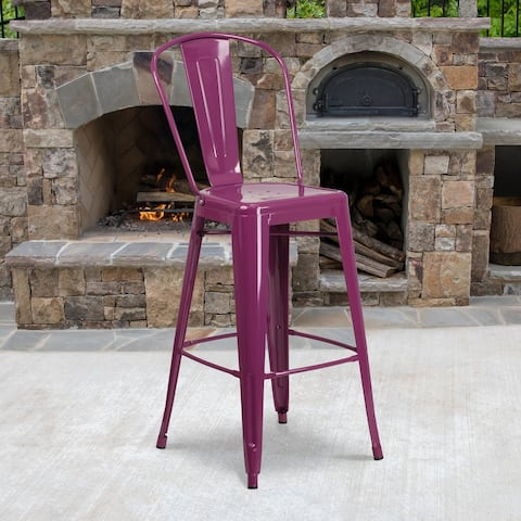 "30'' High Metal Indoor-Outdoor Barstool with Back - 18""W x 19""D x 46""H - 18""W x 19""D x 46""H"