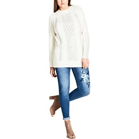 City Chic Womens Plus Pullover Sweater Studded Pattern - 20