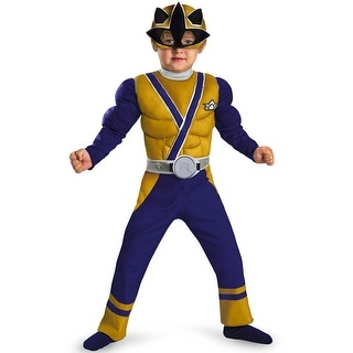 Disguise Power Rangers Samurai Gold Ranger Samurai Muscle Toddler Costume - Blue/Gold - small (2t)