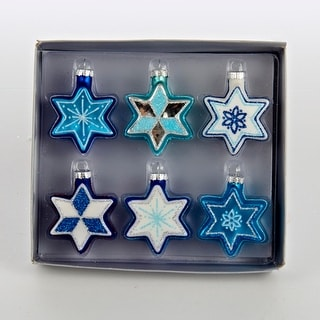 """Club Pack of 36 Blue and White Star of David Glass Hanukkah Holiday Ornaments 2.25"""""""