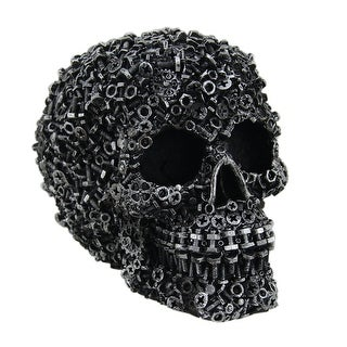 Scrap Head Steampunk Junk Pile Nuts & Bolts Covered Skull Statue 6 inch - 4.5 X 6 X 4 inches