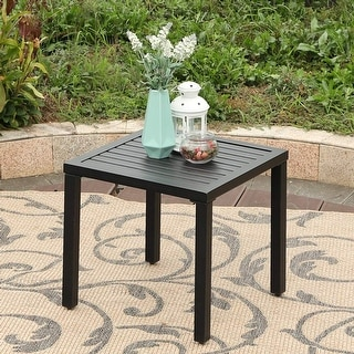 Link to Claribelle Black Metal Small Square Side/ End Table by Havenside Home Similar Items in Patio Furniture