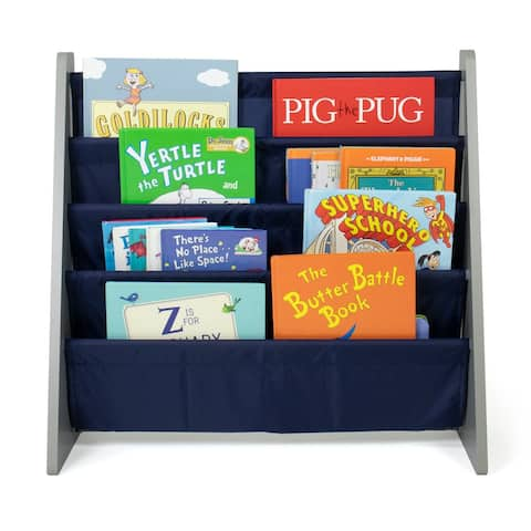 Humble Crew Kids Bookshelf 4 Tier Book Organizer, Navy/Grey