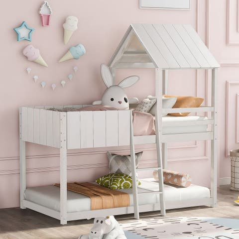 Twin Size Bunk Bed Twin size Bunk Bed Wood Bed with Roof, Guardrail, Ladder,House Bed