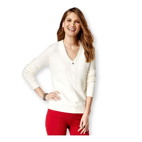 American Living Womens Solid Knit Pullover Sweater, Off-white, XX-Large