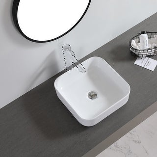"Link to Ceramic Basin Above Counter Basin Rounded Square White - 7'6"" x 9'6"" Similar Items in Sinks"
