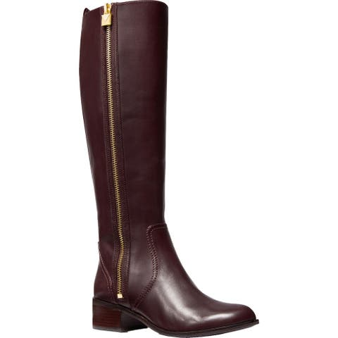 MICHAEL Michael Kors Womens Frenchie Riding Boots Leather Knee-High - Barolo