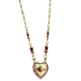 Rosetone Purple Crystal/Floral/Cultured Glass Pearl Heart Necklace - 15in