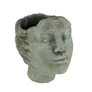 Distressed Grey Concrete Indoor Outdoor Modern Head Planter - 7.5 X 6.5 X 6 inches