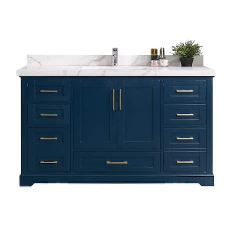 Willow Collection 60 in W x 22 in D x 36 in H Boston Single Bowl Sink Bathroom Vanity with Countertop