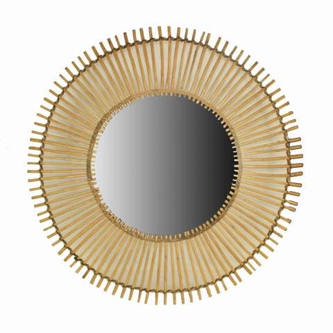 Round Shape Bamboo Wall Mirror with Sunburst Design, Brown