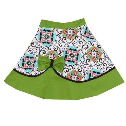 Girls Green Floral Geometric Scroll Pattern Bow Accent Flared Skirt 7-10