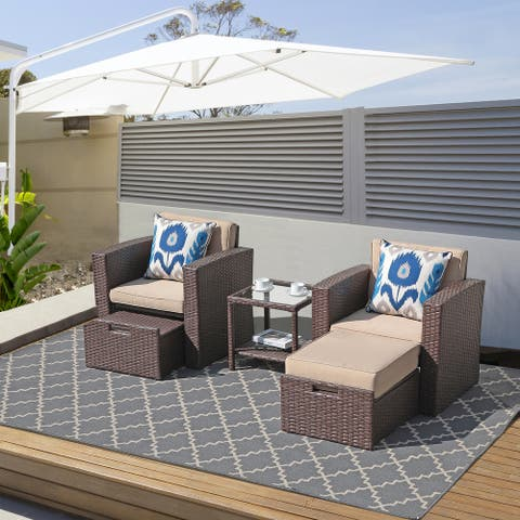 5 Piece Wicker Outdoor Conversation Set with Cushions