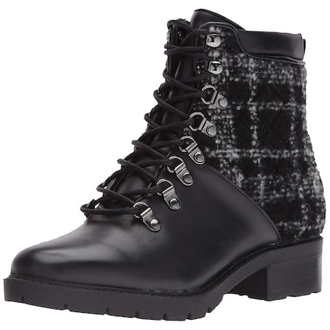 Marc Fisher Womens Lanzia Leather Closed Toe Ankle Combat Boots