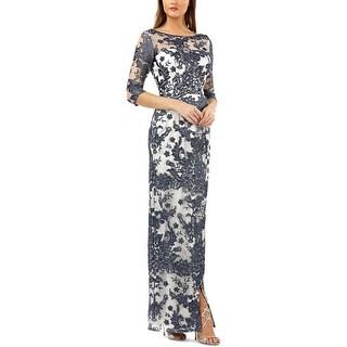 JS Collections Womens Evening Dress Lace Faux-Wrap