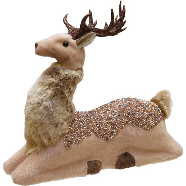 """13.5"""" Champagne Gold Sitting Deer Christmas Decoration"""