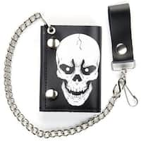 Large Skull Head Trifold Motorcycle Biker Wallet W Chain Mens #548 Leather