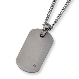 Chisel Brushed Titanium and Diamond Dogtag on 22 Inch Chain (2 mm) - 22 in