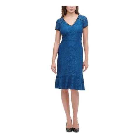 KENSIE Blue Short Sleeve Below The Knee Dress 0