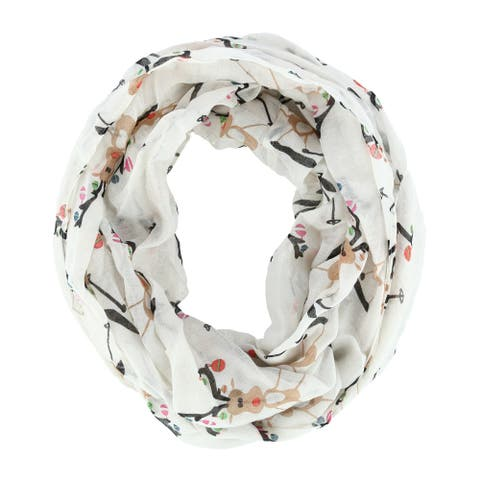 David & Young Women's Holiday Skiing Rudolph Reindeer Print Infinity Loop Scarf - one size