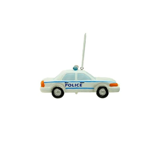 """4"""" White Battery Operated LED Lighted Police Car Hanging Christmas Ornament"""