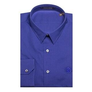 Roberto Cavalli Men's Point Collar Cotton Dress Shirt Blue