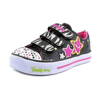 Twinkle Toes By Skechers Wild Starlight Youth Canvas Black Fashion Sneakers