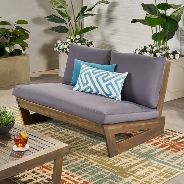 Sherwood Outdoor Acacia Wood Loveseat with Cushions by Christopher Knight Home. Opens flyout.