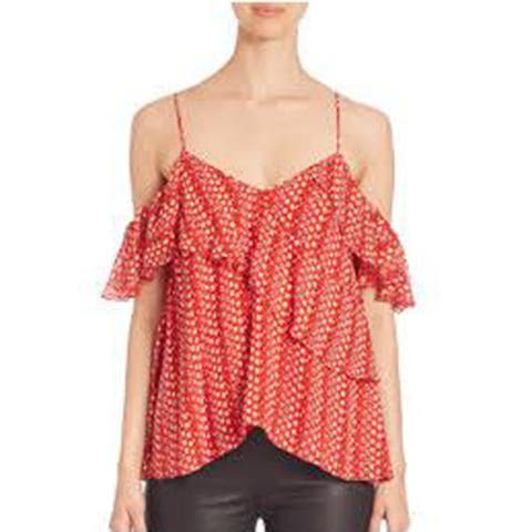 Tanya Taylor Womens Chiara Red Floral Top