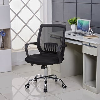 VECELO Swivel Black Mesh /Office /Task Chair, Adjustable Height,Lumbar Support