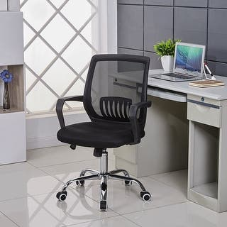 Vecelo Swivel Black Mesh Office Task Chair With Lumbar Support