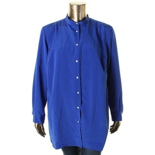 Lauren Ralph Lauren Womens Plus Button-Down Top Pleated Long Sleeve