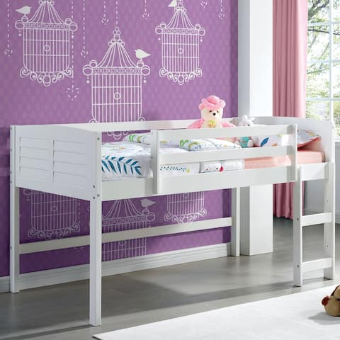 Furniture of America Sosa Transitional White Twin Solid Wood Loft Bed